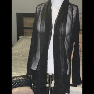 Light sheer duster sweater mix media